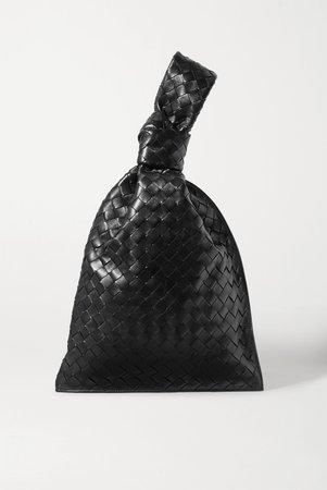Black BV Twist knotted intrecciato leather clutch | Bottega Veneta | NET-A-PORTER