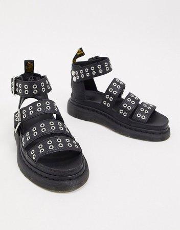 Dr Martens Clarissa II quad sandals with eyelet detail in black | ASOS