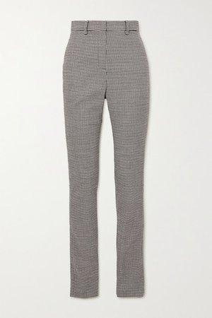 Houndstooth Wool-blend Slim-leg Pants - Gray