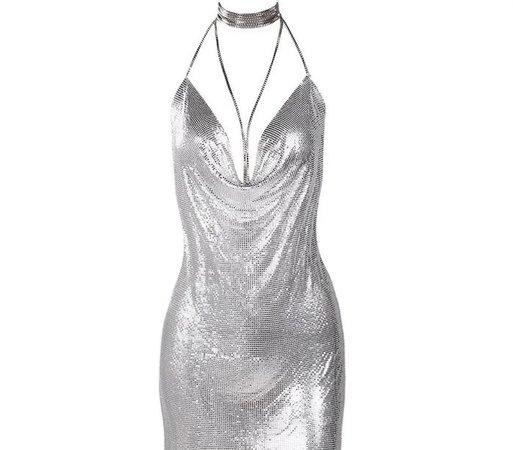 silver Paris Hilton dress