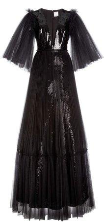 Huishan Zhang Juno Sequin Tulle Sleeved Gown