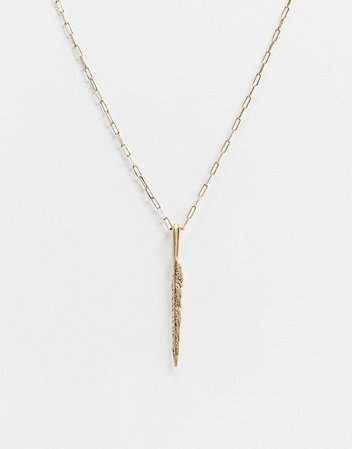 AllSaints Feather drop necklace | ASOS