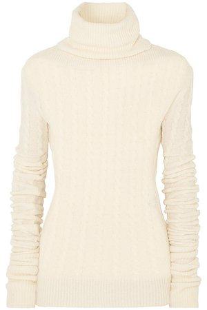 Jacquemus | Sofia cable-knit alpaca-blend turtleneck sweater | NET-A-PORTER.COM