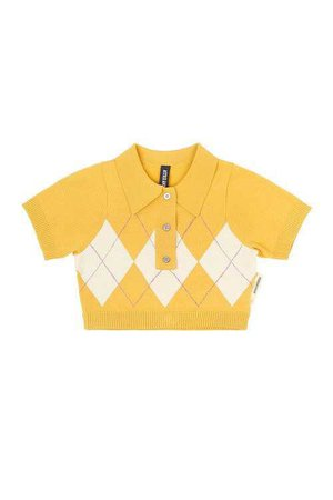 Astrid Anderson / Cropped Polo Tee / Yellow