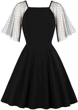 Wellwits Women's Polka Dots Mesh Flare Sleeves Witchy Vintage Dress at Amazon Women's Clothing store