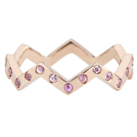 Lucia Pink Sapphire Stacking Band in 14k Rose Gold by GiGi Ferranti