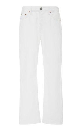 GRLFRND Denim Cropped Mid-Rise Straight-Leg Jeans