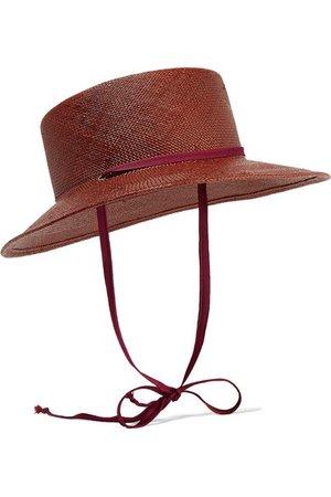 CLYDE | Telescope grosgrain-trimmed straw hat | NET-A-PORTER.COM