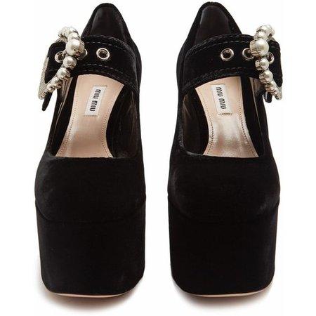 Miu Miu Embellished velvet block-heel platform pumps