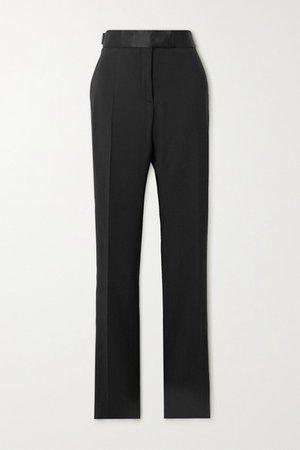 Silk Satin-trimmed Wool-blend Straight-leg Pants - Black