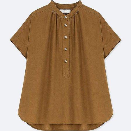 Women's Linen Blended Short-sleeve Blouse
