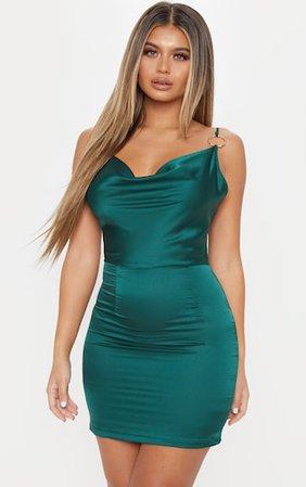 Emerald Green Satin Cowl Bodycon Dress | PrettyLittleThing