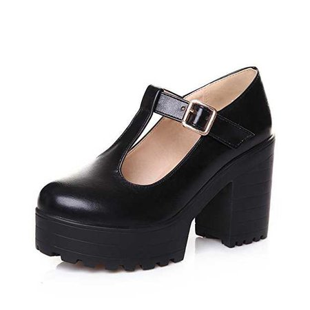 Amazon.com | Milesline Fashion Women's Round Toe Platform Shoes T-Strap Chunky Heel Mary Jane Pumps | Pumps