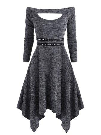 [48% OFF] Knitted Off Shoulder Rivet Asymmetrical Dress   Rosegal