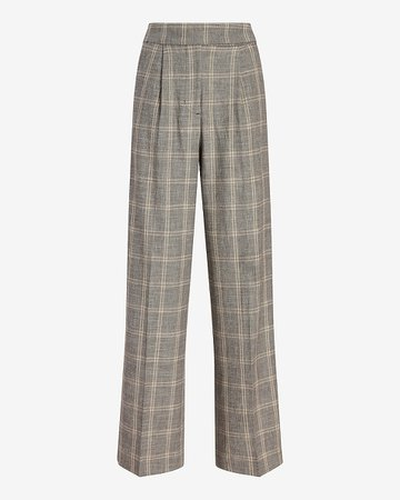 Super High Waisted Plaid Linen-blend Trouser Pant | Express