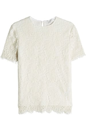 Laced Silk and Wool-Blend Top Gr. UK 6
