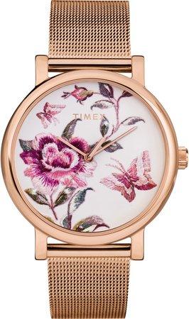 Full Bloom Mesh Strap Watch, 38mm