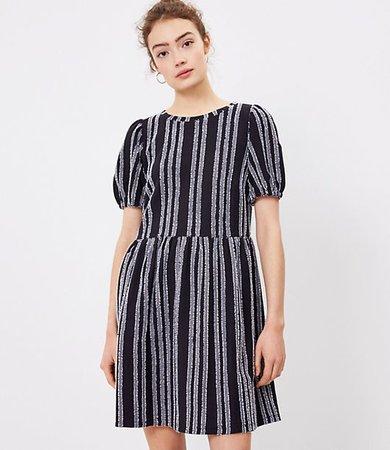 Striped Puff Sleeve Swing Dress
