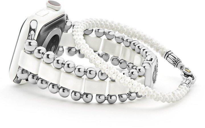 Smart Caviar Stainless Steel Watchband for Apple Watch(R) & White Caviar Bracelet Set