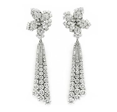 A Pair of Diamond Ear Pendants, by Bulgari, circa 1950