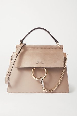 Chloé | Faye leather and suede shoulder bag | NET-A-PORTER.COM