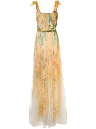 Marchesa Notte off-shoulder printed tulle gown