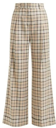 Checked Twill Wide Leg Trousers - Womens - Beige Multi