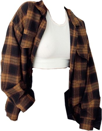 White top with orange flannel