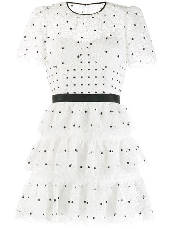 Self-Portrait Tiered Polka-Dot Dress SP22125 White | Farfetch