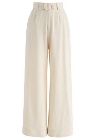 Realism Mode Wide-Leg Pants in Cream - Pants - BOTTOMS - Retro, Indie and Unique Fashion