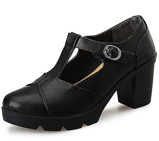 Amazon.com | DADAWEN Women's Classic T-Strap Platform Mid-Heel Square Toe Oxfords Dress Shoes Black US Size 9 | Pumps