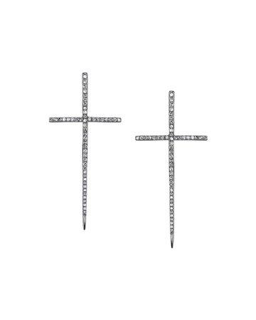 Sheryl Lowe Silver Spike Cross Pave Diamond Earrings | Neiman Marcus