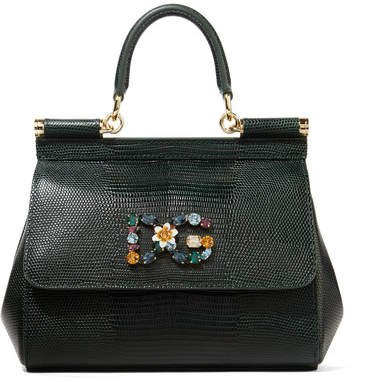 Sicily Small Embellished Lizard-effect Leather Tote - Dark green