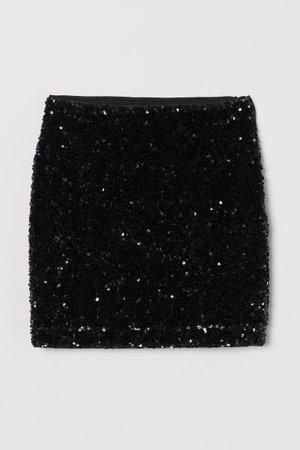 Sequined Skirt - Black - Ladies | H&M US
