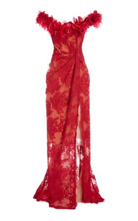 Floral-Embellished Lace Gown By Marchesa | Moda Operandi