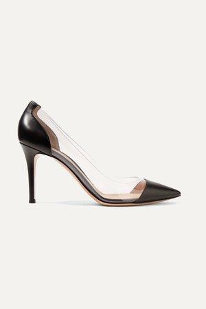 Black Plexi 85 leather and PVC pumps   Gianvito Rossi   NET-A-PORTER