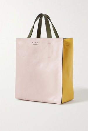 Pastel pink Museo small color-block crinkled-leather tote | Marni | NET-A-PORTER