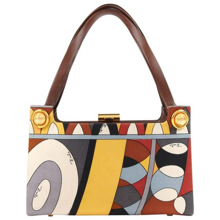 EMILIO PUCCI c.1970's Brown Multicolor Signature Print Silk and Leather Purse at 1stdibs