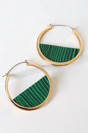 Green Marbled Earrings - Gold Hoop Earrings - Marbled Hoops - Lulus