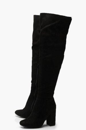 Block Heel Over The Knee Boots | Boohoo UK