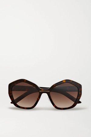 Tortoiseshell Hexagon-frame tortoiseshell acetate sunglasses | Prada Eyewear | NET-A-PORTER
