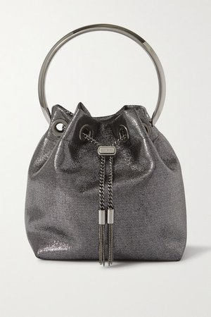 Bon Bon Metallic Satin Bucket Bag - Silver