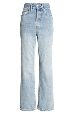 Topshop High Waist Straight Leg Jeans (Bleach)   Nordstrom