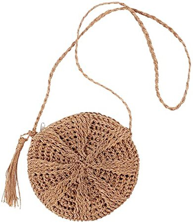 Teeya Straw Crossbody Bag Women Weave Shoulder Bag Round Summer Beach Purse and Handbags