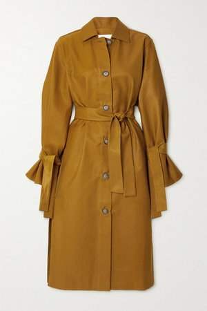 Cotton-blend Gabardine Trench Coat - Brown