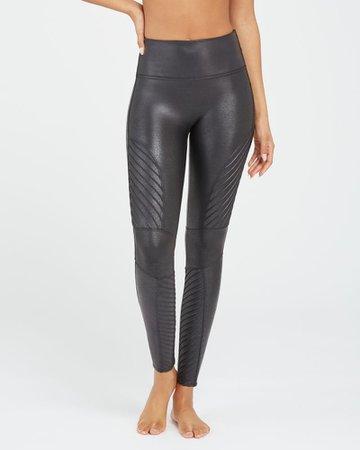 Moto Leggings - Women's Black Faux Leather   SPANX
