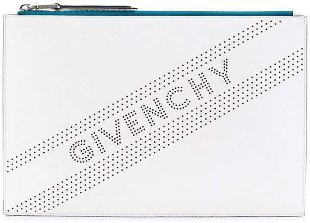 perforated logo medium clutch bag