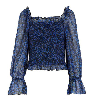 Blue Floral Shirred Square Neck Blouse   New Look