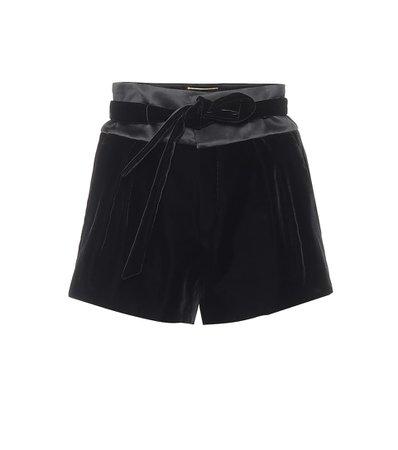 Saint Laurent - High-rise velvet and satin shorts | Mytheresa