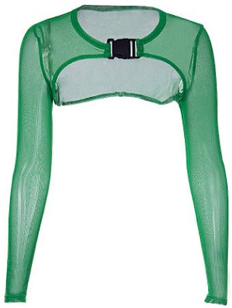 Amazon.com: Women's Long Sleeve See-Through Sheer Mesh Crop Tops Buckle Summer Top Cover Ups (S, A - Green): Clothing